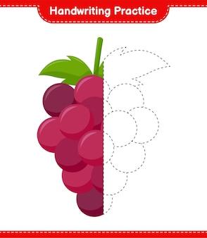 Практика почерка. трассировка линий винограда. развивающая детская игра, лист для печати