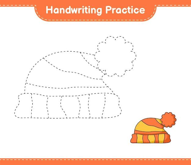 필기 연습 모자 교육용 어린이 게임 인쇄용 워크 시트의 라인 추적