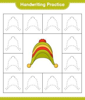 手書きの練習帽子の線をたどる教育的な子供たちのゲームの印刷可能なワークシート