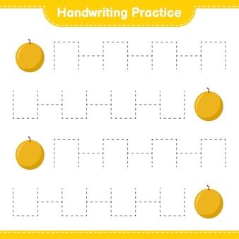 手書きの練習。ハニーメロンのトレースライン。教育的な子供向けゲーム、印刷可能なワークシート