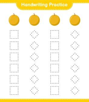 필기 연습. 허니 멜론의 트레이싱 라인. 교육용 어린이 게임, 인쇄 가능한 워크 시트