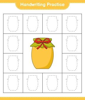 手書きの練習ジャム教育の子供たちのゲームの印刷可能なワークシートの行をトレースする