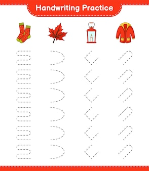 Практика рукописного ввода трассировка линий фонариков теплая одежда и кленовый лист