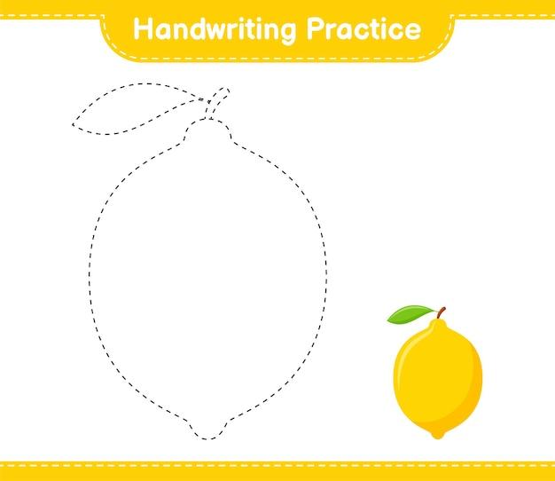 Практика почерка. трассировка линий лимона. развивающая детская игра, лист для печати