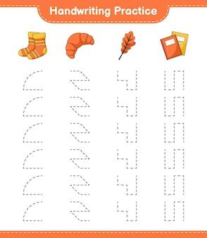 Практика рукописного ввода трассировка линий книги носков из дубового листа и круассана