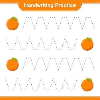 手書きの練習。オレンジのトレースライン。教育的な子供向けゲーム、印刷可能なワークシート
