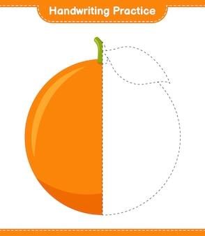 Практика почерка. обводка линий апельсина. развивающая детская игра, лист для печати