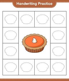手書きの練習パイの線をたどる教育的な子供たちのゲームの印刷可能なワークシート