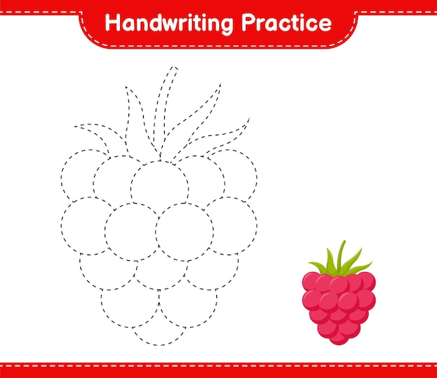 Практика почерка. трассировка линий малины. развивающая детская игра, лист для печати