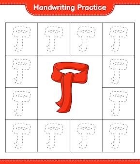 手書きの練習スカーフ教育の子供たちのゲームの印刷可能なワークシートの線をたどる