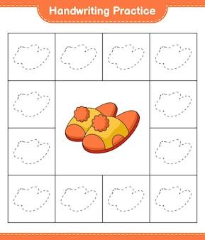 手書きの練習スリッパの線をたどる教育的な子供たちのゲームの印刷可能なワークシート