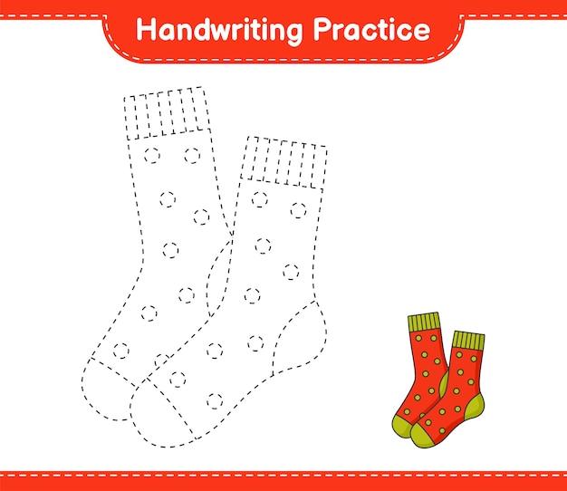 필기 연습 양말 교육용 어린이 게임 인쇄용 워크 시트의 추적