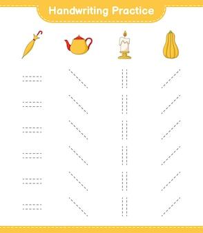 Практика почерка трассировка линий teapot candle butternut squash и umbrella