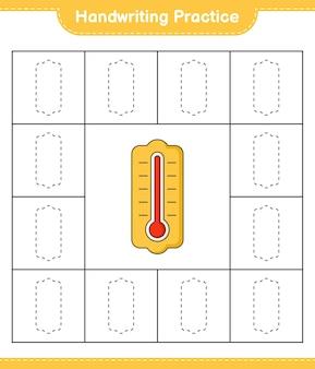 手書きの練習体温計の線をたどる教育的な子供たちのゲームの印刷可能なワークシート