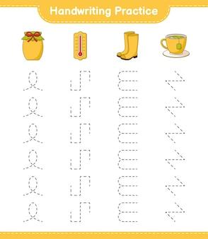 Практика почерка трассировка линий термометра в резиновых сапогах teacup and jam