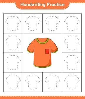 手書きの練習tシャツの線をたどる教育的な子供たちのゲームの印刷可能なワークシート