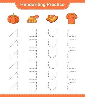 Практика почерка трассировка линий футболки, тапочки, тыквы и шляпы, развивающая игра для детей
