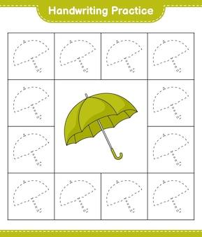 手書きの練習傘の線をたどる教育的な子供たちのゲームの印刷可能なワークシート