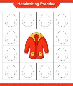手書きの練習防寒着の線をたどる教育的な子供たちのゲームの印刷可能なワークシート