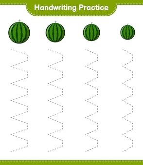 Практика почерка. трассировка линий арбуза. развивающая детская игра, лист для печати