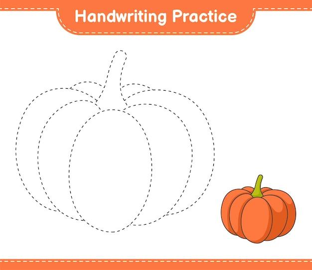 Handwriting practice tracing lines of pumpkin educational children game printable workshee