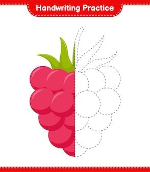 Handwriting practice. tracing lines of raspberries. educational children game, printable worksheet