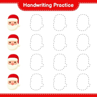 Handwriting practice. tracing lines of santa claus. educational children game