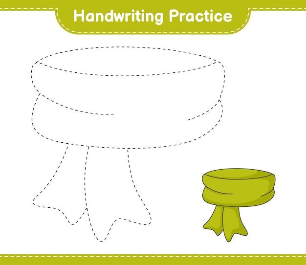 Handwriting practice tracing lines of scarf educational children game printable worksheet