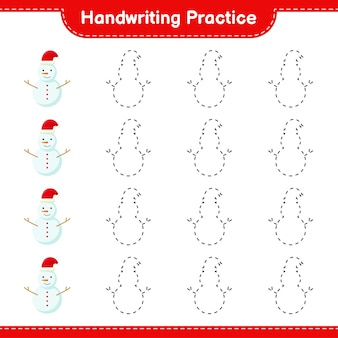 Handwriting practice. tracing lines of snowman. educational children game