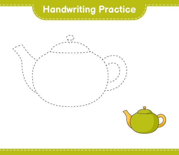 Handwriting practice tracing lines of teapot educational children game printable worksheet