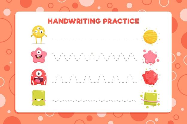 Pratica di scrittura a mano con batteri