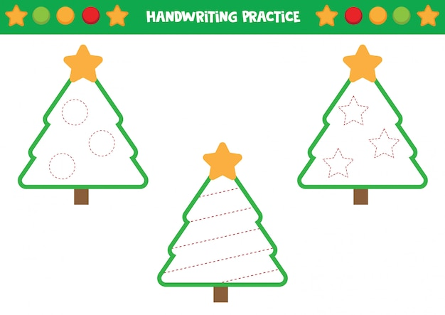 Handwriting practice with christmas trees. trace the lines.