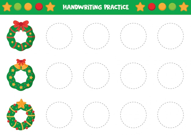 Handwriting practice with colorful christmas wreaths.