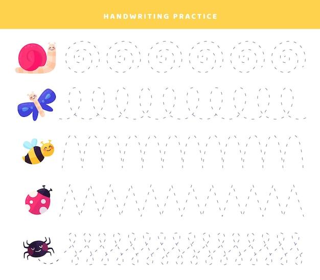 Pratica di scrittura a mano con simpatici insetti