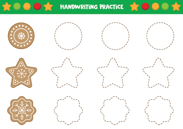 Handwriting practice with gingerbread cookies.