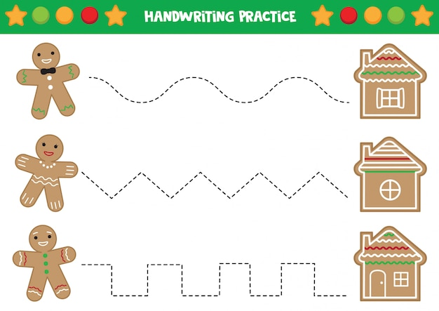 Handwriting practice with gingerbread men and houses.