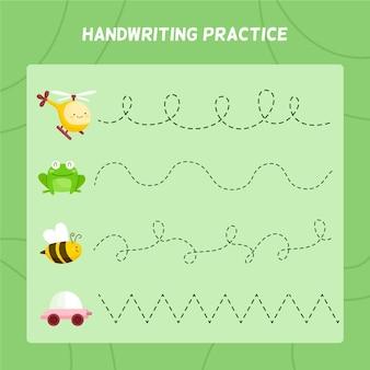 Foglio di lavoro per la pratica della scrittura a mano per bambini con elementi carini