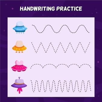 Foglio di lavoro per la pratica della scrittura a mano per bambini