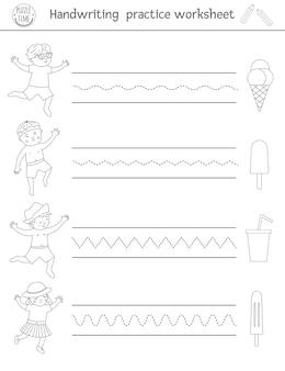 手書き練習ワークシート。就学前の子供のための印刷可能な白黒の活動。ライティングスキル開発のための教育ゲーム。アイスクリームを持つ子供のための夏のぬりえ