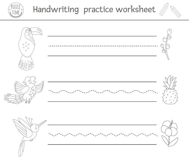 Рабочий лист практики почерка. черно-белая распечатка для детей дошкольного возраста. обучающая игра для развития навыков письма.