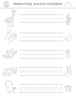 필기 연습 워크 시트. 미취학 아동을위한 인쇄 가능한 흑백 활동. 쓰기 능력 개발을위한 교육 게임.