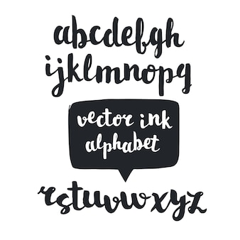 필기 브러시 스크립트. 손으로 그린 된 알파벳