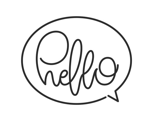 Handwritten calligraphic line lettering of hello in speech bubble.