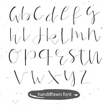 Рукописный шрифт каллиграфии. сделано тушью. алфавит современной каллиграфии. изолированные буквы. свадьба, меню, сохранить дату открытки постер декоративный графический дизайн. вектор