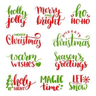 手書きのクリスマスと新年の書道セット。ハッピーホリデー、ホリージョリーなどのレタリング