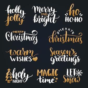 손으로 쓴 크리스마스와 새해 서예 세트 해피 홀리데이, 홀리 졸리 등 글자.