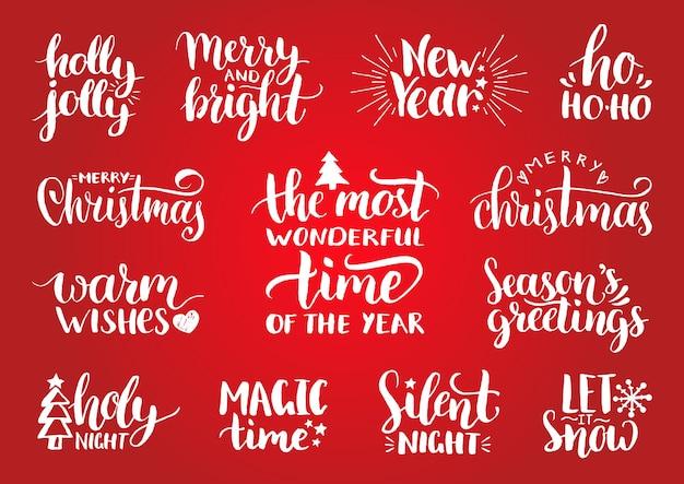 お祝いの装飾が施された手書きのクリスマスと新年の書道。