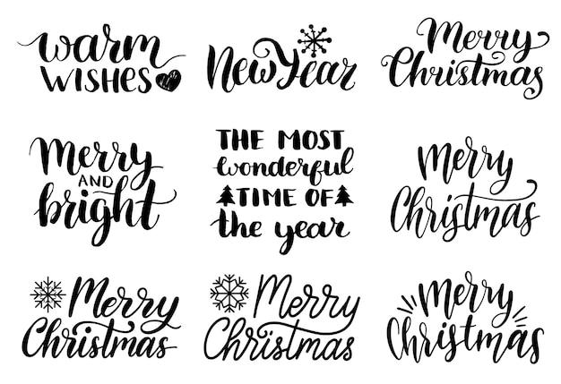 Handwritten christmas and new year calligraphy set