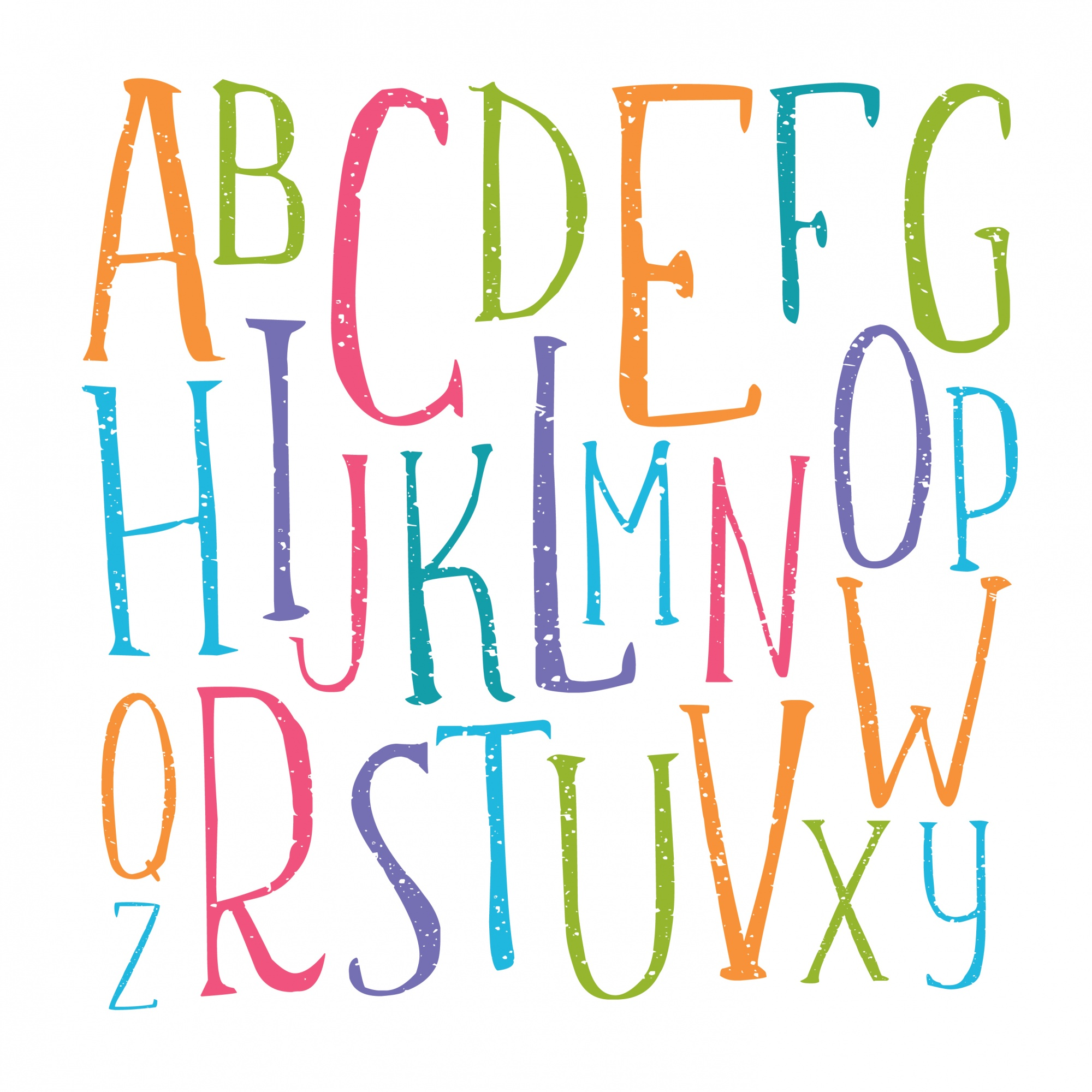 Handwritten color alphabet