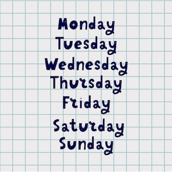 Handwritten days of week. modern calligraphy.